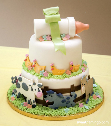 Baby Farm Animals Sweet Flamingo Cake Co