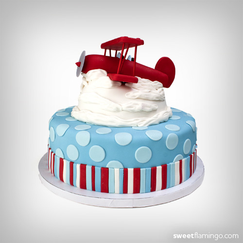 Biplane sweet flamingo cake co for Airplane cake decoration